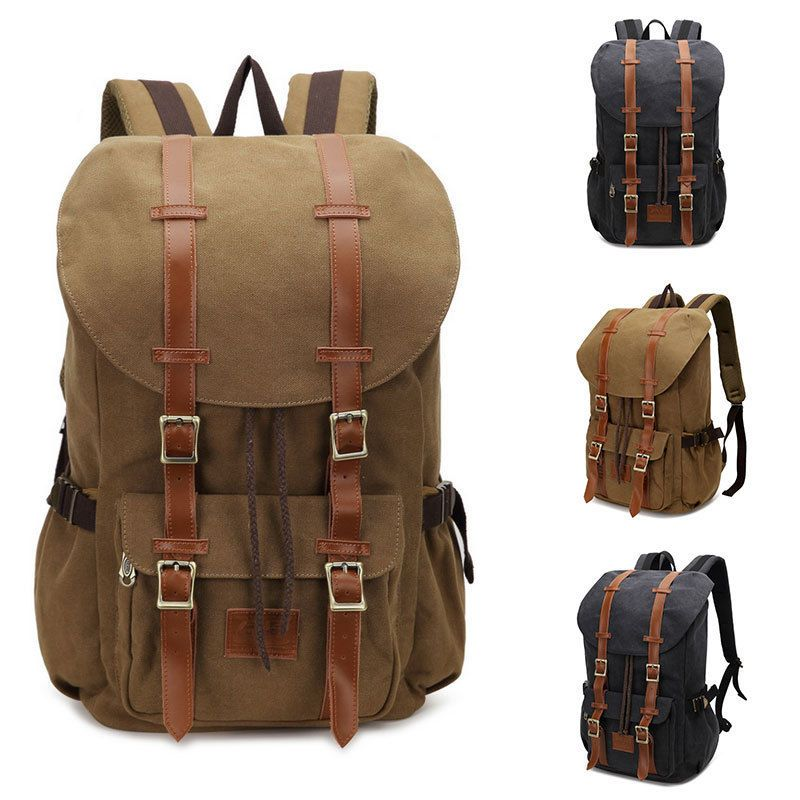 040772c0d0f5 Vintage Men s Backpack Military Canvas Leather Travel Backpack Women s  Large Rucksack School Bag Travel Backpacks School Bag