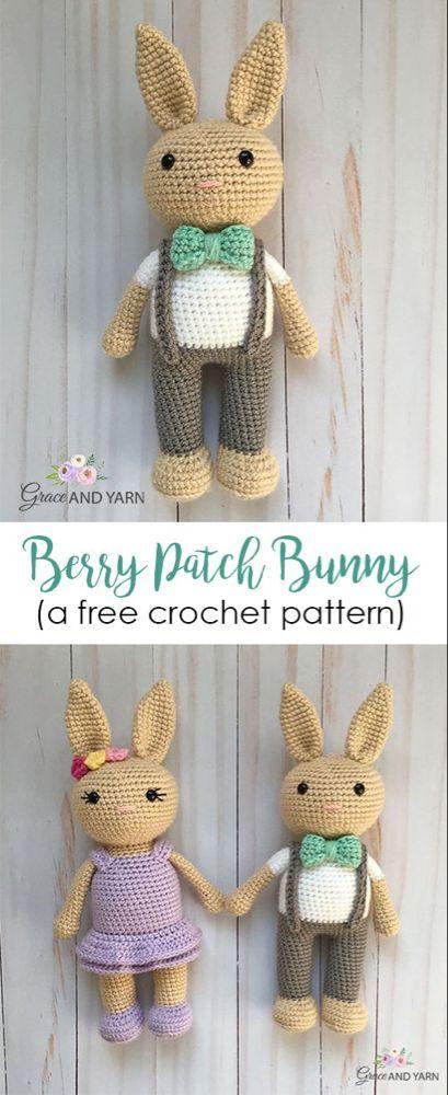 Berry Patch Bunny Boy Version - A Free Amigurumi Pattern