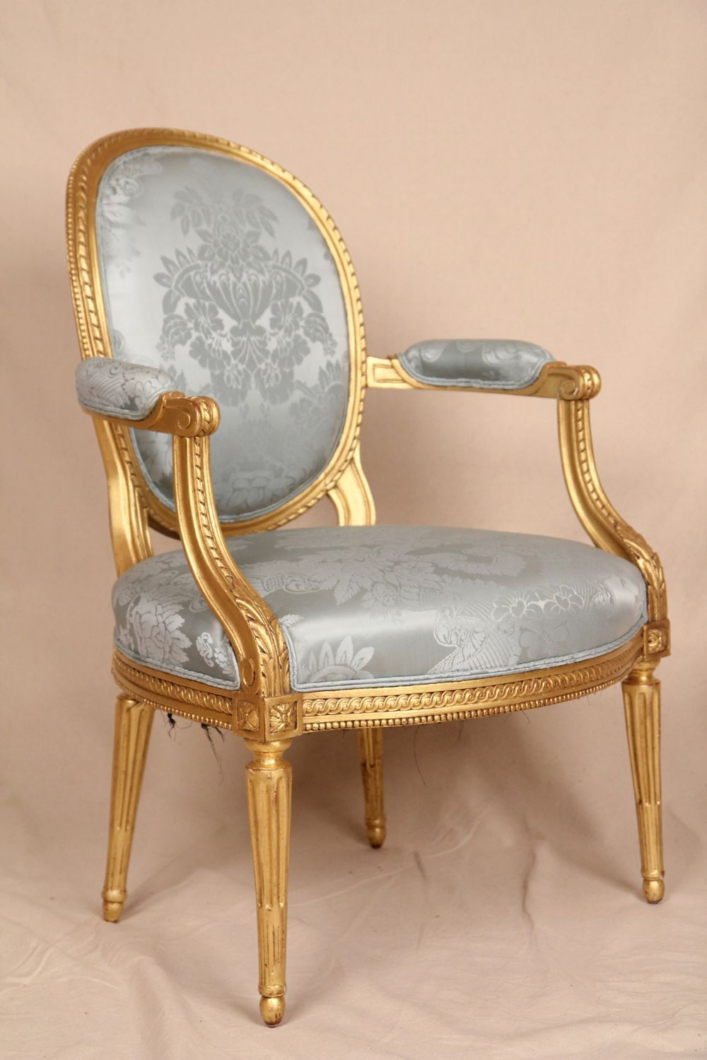 Fine Early 19th Century Gilded French Louis Xvi Antique Fauteuil  # Thomas Hope Muebles