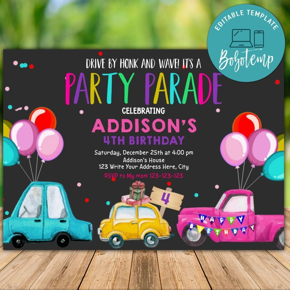 printable drive by pink birthday parade