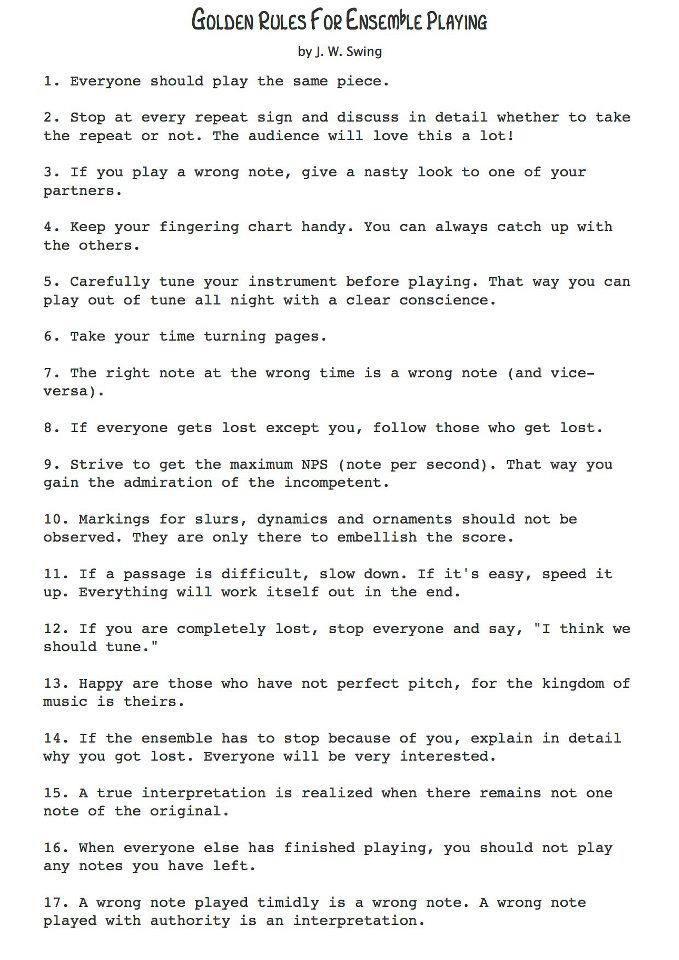 Golden Rules Of Ensemble Playing Music Humor Pinterest   Music Resume For  College  Music Resume For College