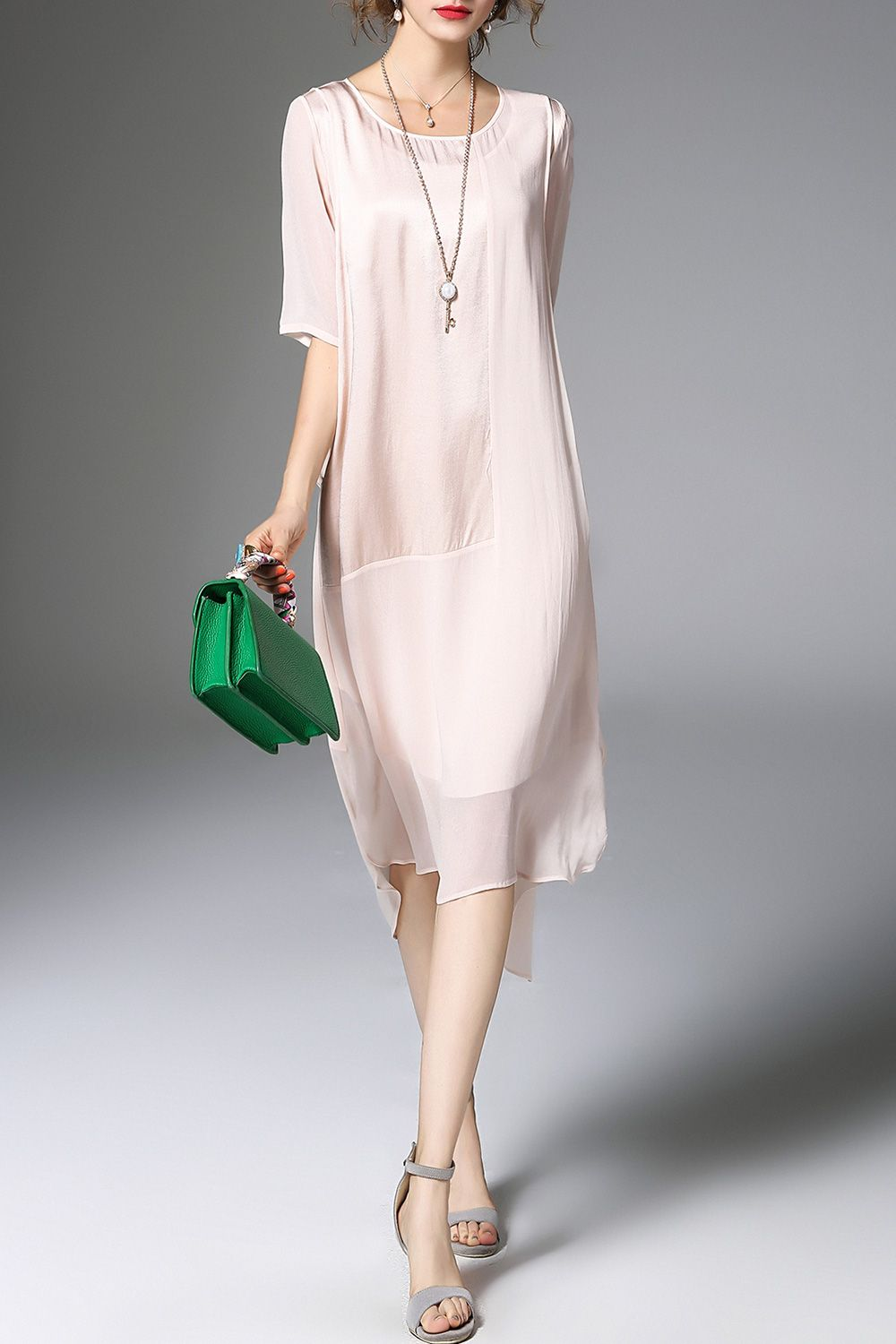 Green ruffled half sleeve plain polyester midi dress my style