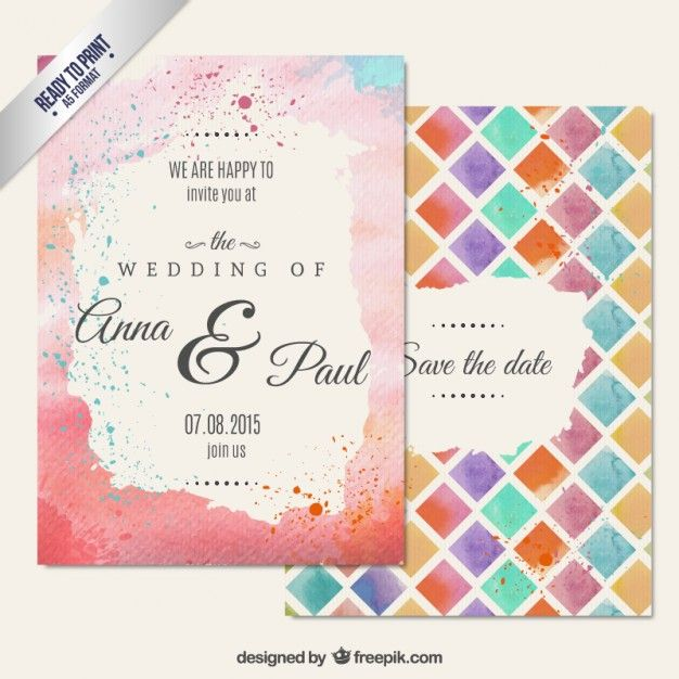 Hand Painted Wedding Invitation In Abstract Style Free Vector