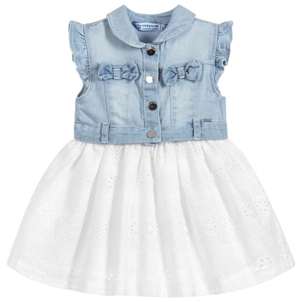 Mayoral Denim Broderie Anglais Dress Childrensalon Kids Dress Eyelet Dress Soft Denim Top [ 1000 x 1000 Pixel ]