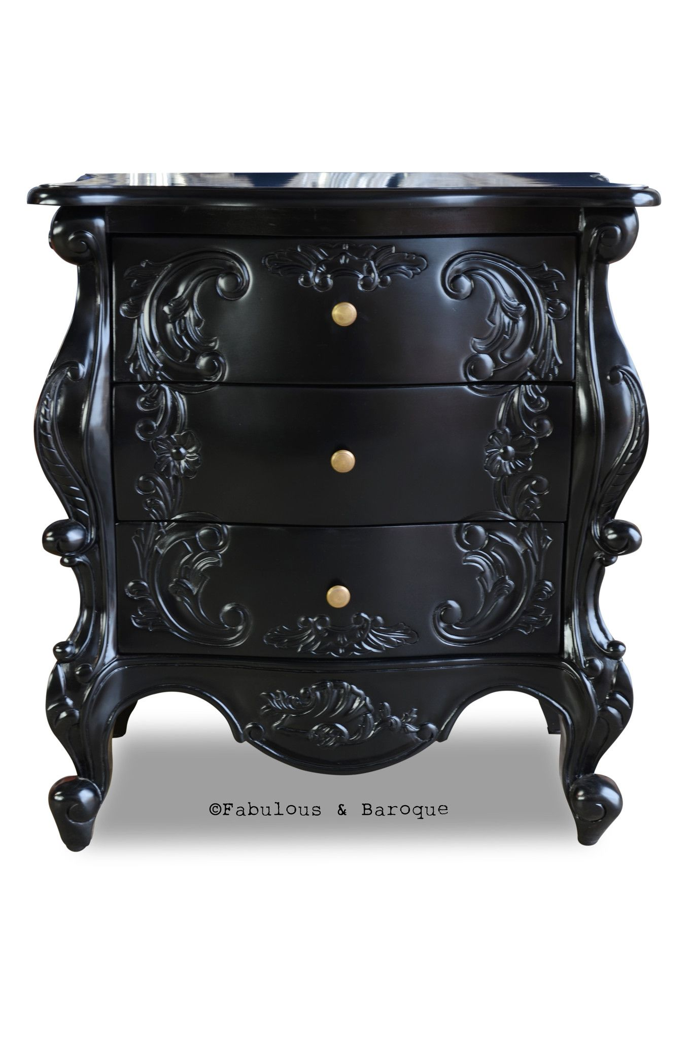 Night's Dream Side Table Black Rococo furniture