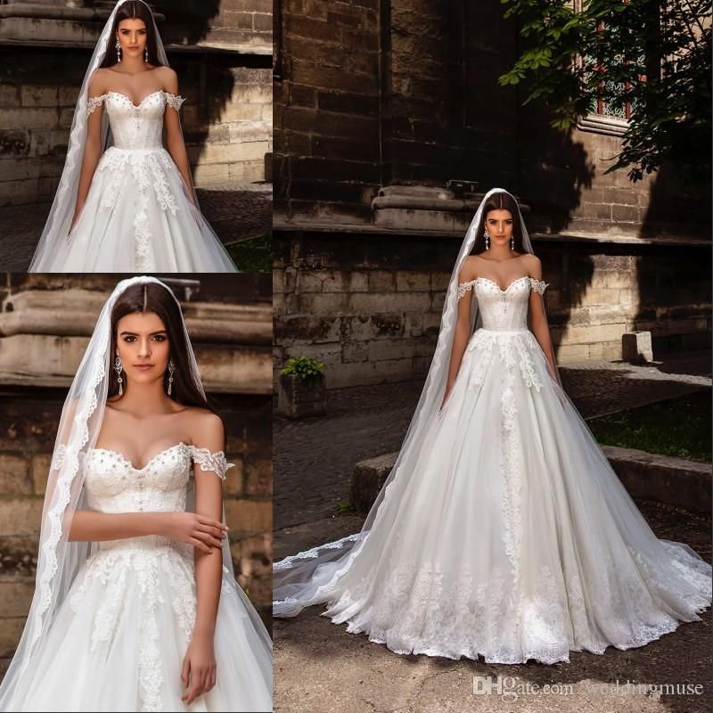 Discount Crystal Design Bridal 2020 Off The Shoulder Bustier Heavily Lace Embellished Bodice Princess A Line Ball Gown Wedding Dresses Buy Wedding Dresses Cheap Red Prom Dress Long Wholesale Evening Dresses