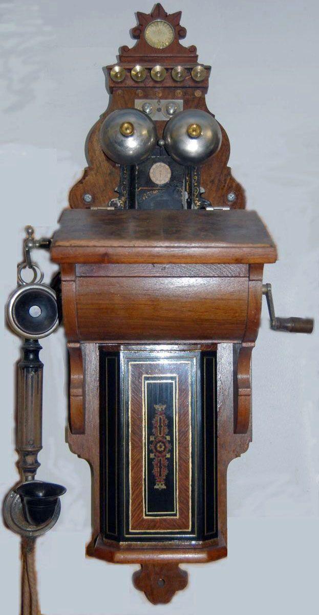 t l phone mural manivelle bois l m ericsson 1897 au temps ancien technologies. Black Bedroom Furniture Sets. Home Design Ideas