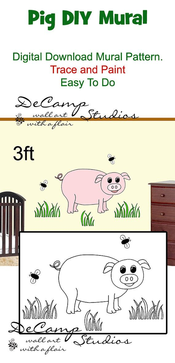 DIY Barnyard Pig Wall Art Mural Pattern Download for baby boy farm animal nursery or kids room decor. Do It Yourself Trace and Paint. Also great for church nursery, child care, pediatric office, and preschool #decampstudios