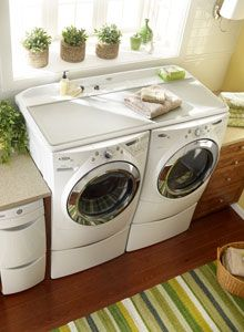 Another View Of The Whirlpool Duet Work Surface On Top Washer And Dryer With Pedestal Drawers A Laundry Tower