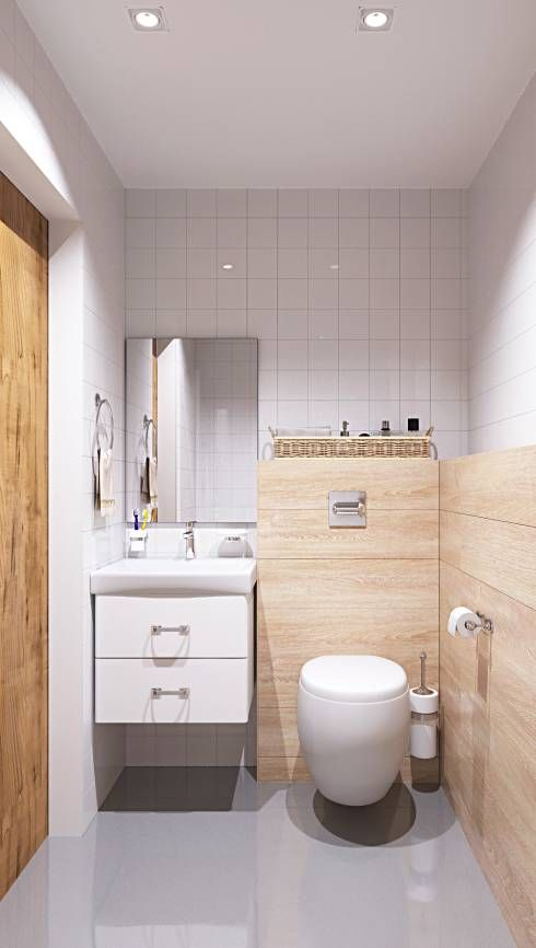 A small  bathroom can still be an extremely gorgeous space, like this Scandinavian bathroom by ROOMDESIGNBÜRO