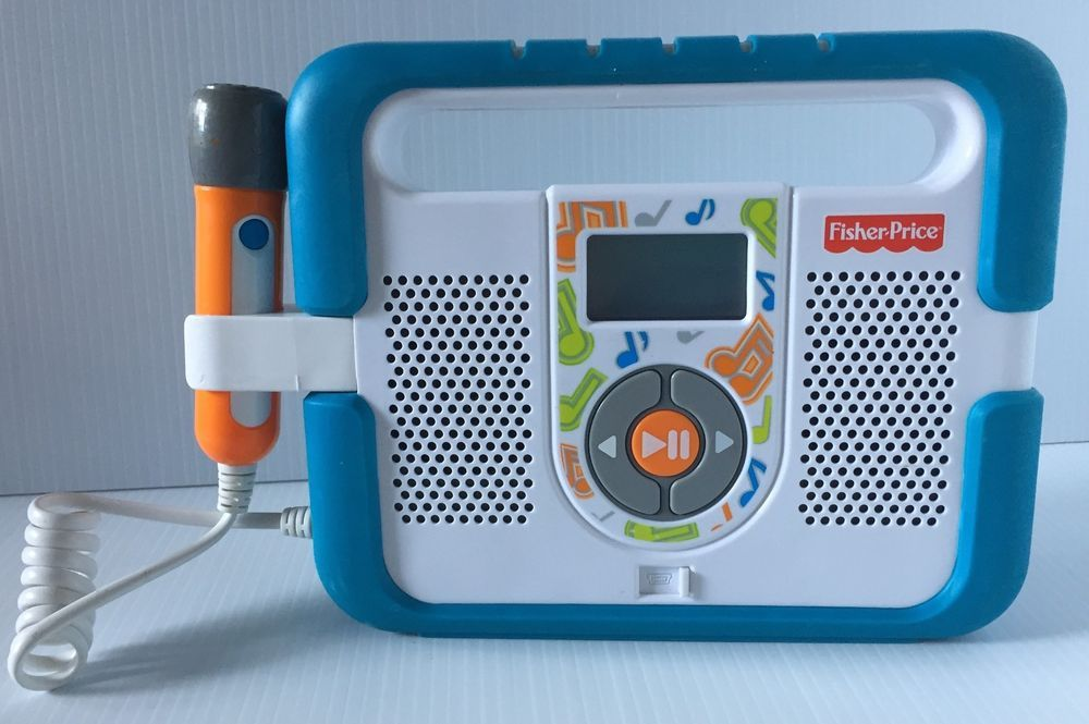 Fisher Price Kid Tough Blue Mp3 Music Player With Microphone Mic Toddler Fisherprice