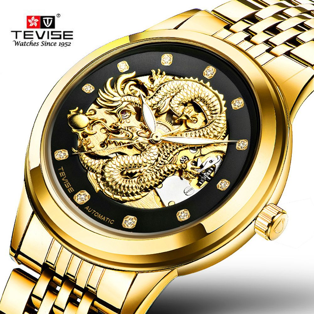 c0e938b15f0 TEVISE Luxury Automatic Mechanical Wristwatches Dragon Genuine Leather Stainless  Men s Watch Waterproof relogio masculino   Price   54.99   FREE Shipping ...