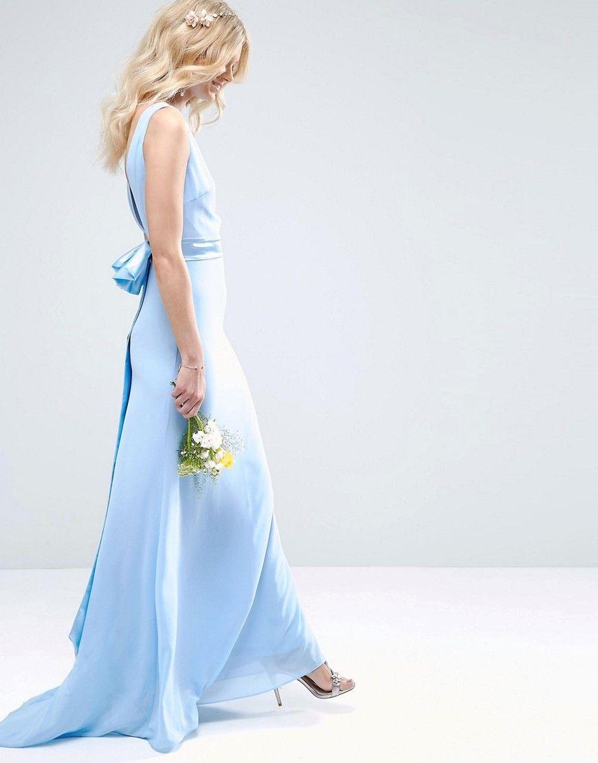 Image 4 ofTFNC Petite Wedding Sateen Bow Back Maxi Dress