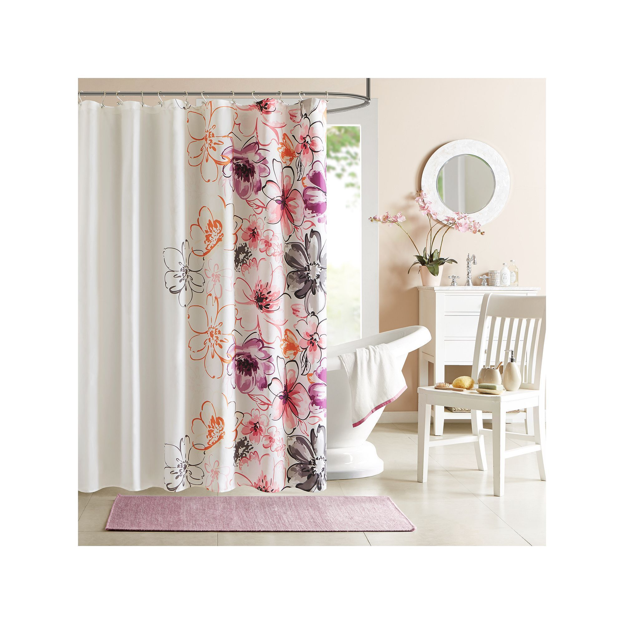 Intelligent Design Floral Shower Curtain, Pink