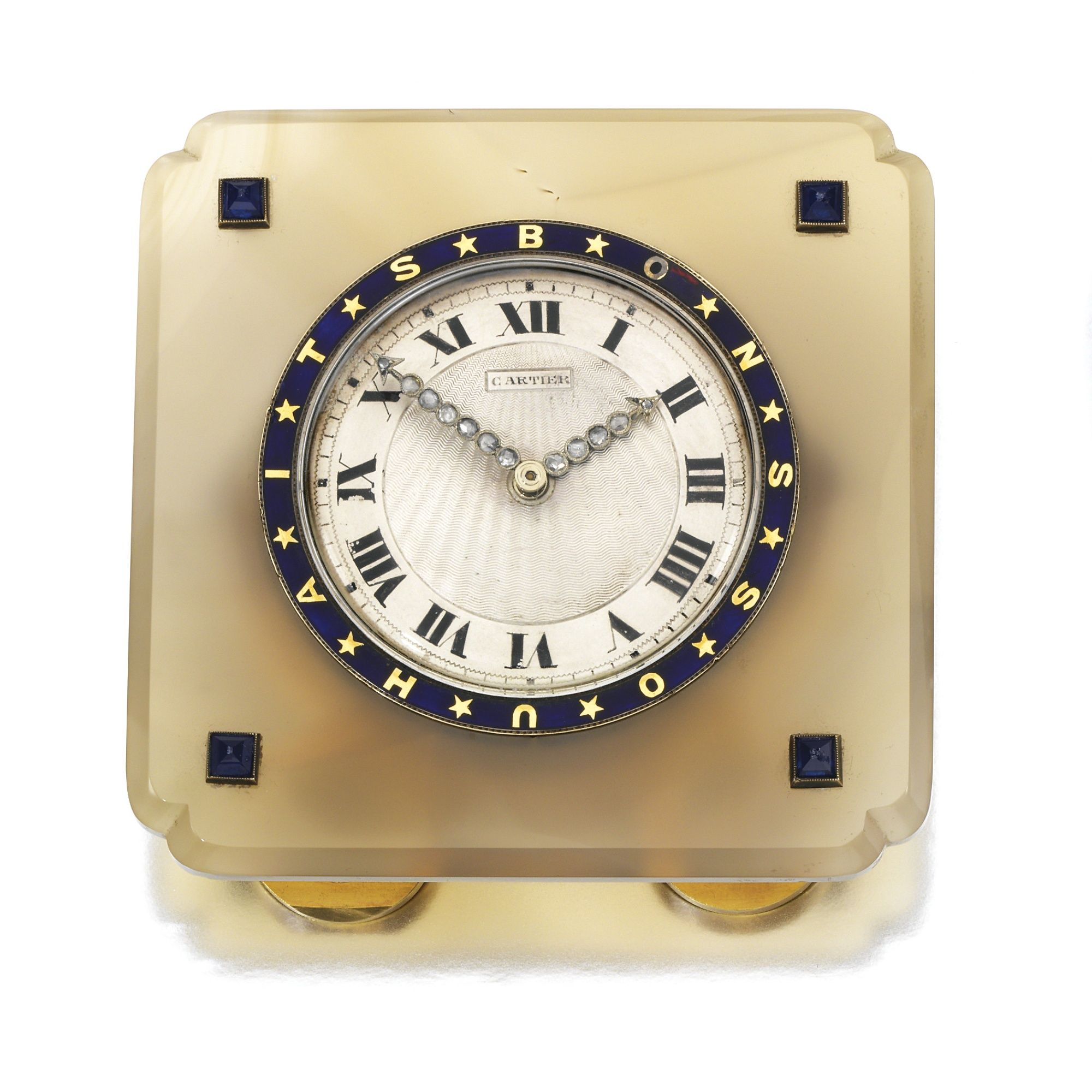 Agate and diamond desk clock cartier 1920s clocks pinterest agate and diamond desk clock cartier sothebys the circular dial applied with roman numerals the hands set with rose amipublicfo Images