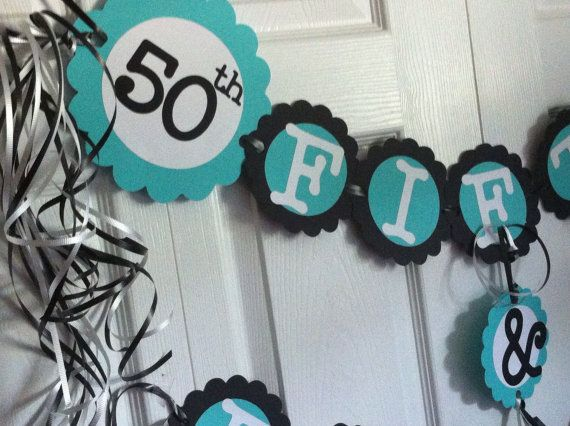 50th Birthday Decorations Party Banner Fifty Fabulous