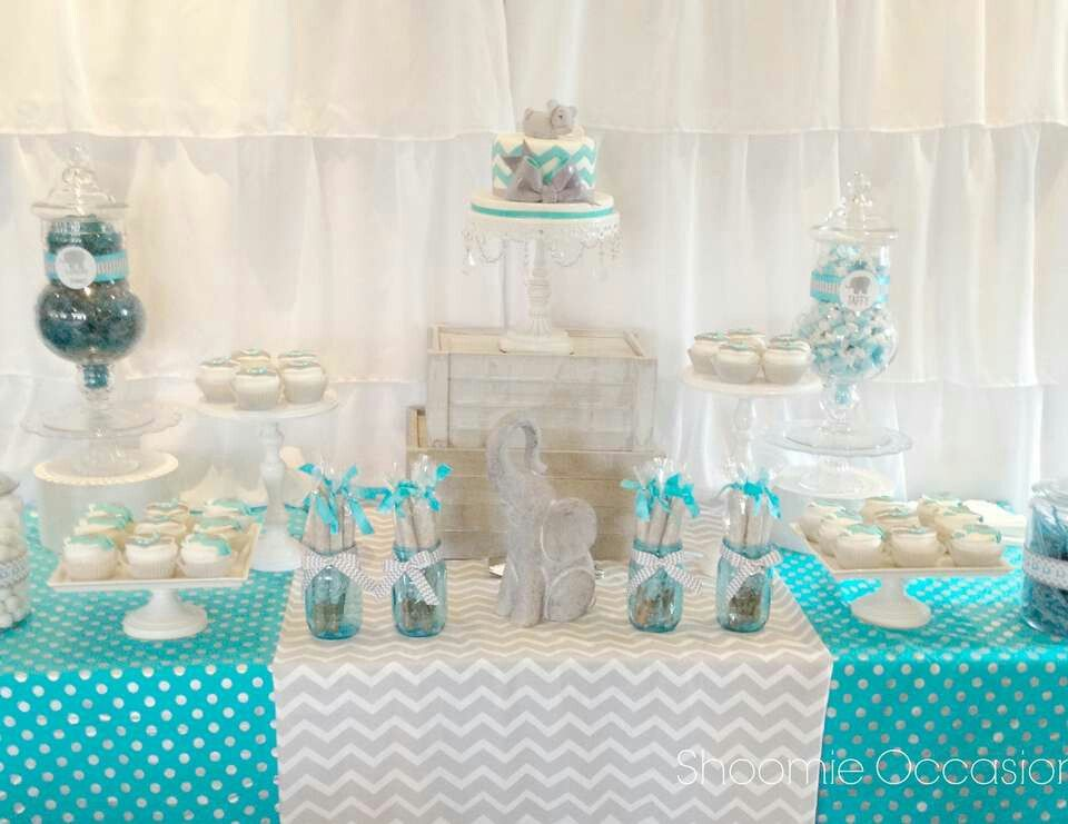 Elephant Baby Shower Dessert Table With Images Baby Shower