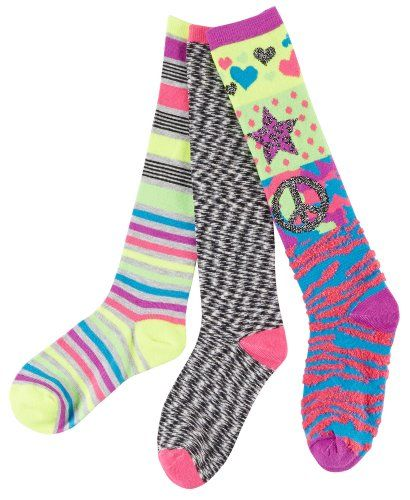 Capelli Girls 3-pk. Rocker Chick Knee-High Socks