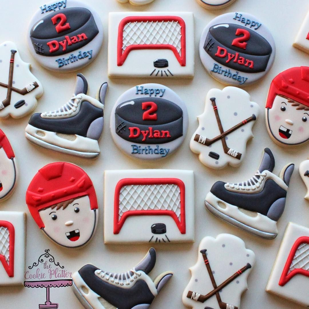 Barbara Pereira On Instagram Birthday Cookies For A Little Hockey Player Set Was Inspired By Birthday Cookies Hockey Birthday Cake First Birthday Cookies