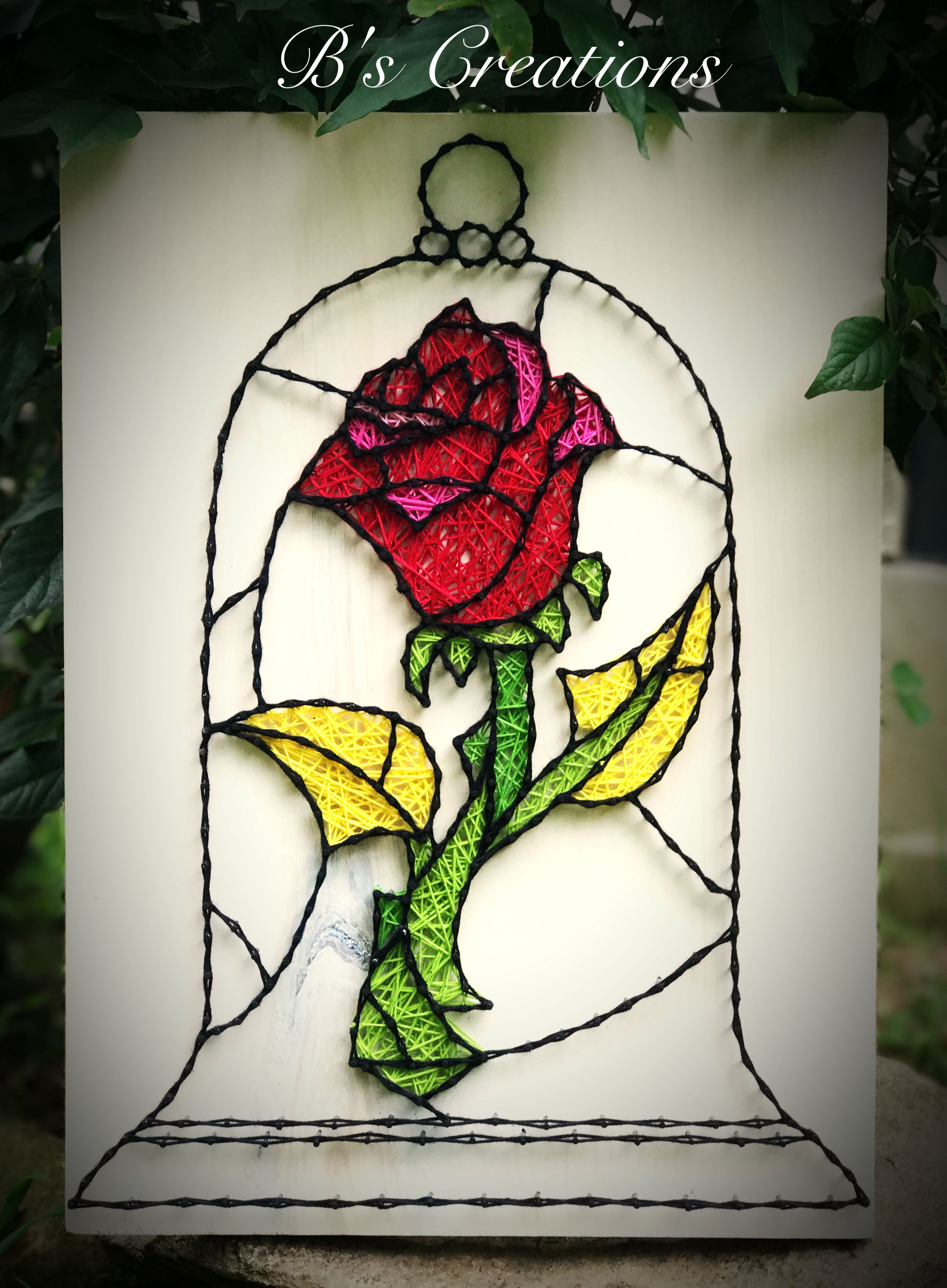 Beauty and the Beast Rose string art !!!! #stringart