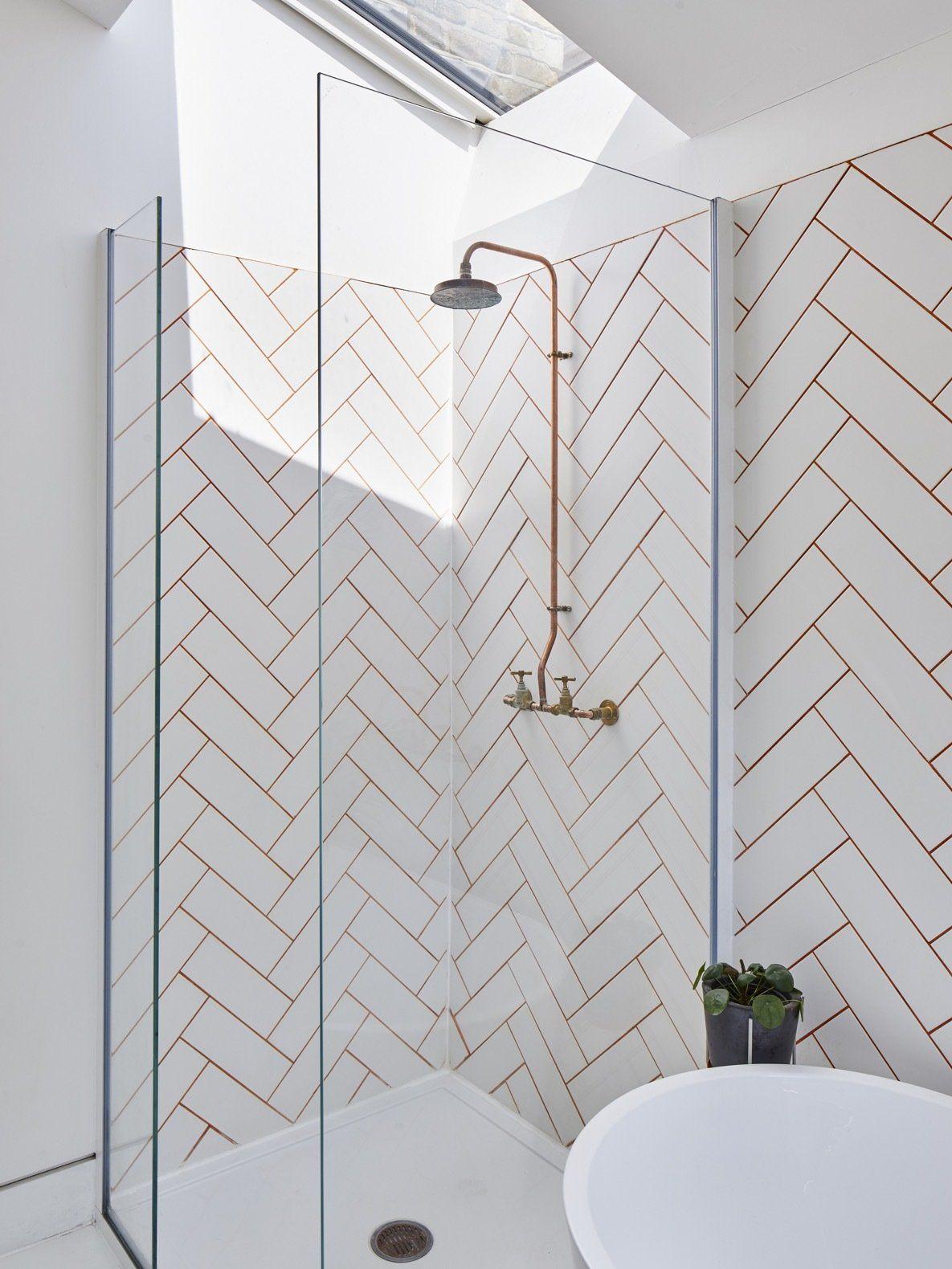 A Cork House By Richard John Andrews In 2020 Herringbone Wall Tile Herringbone Wall Modern Bathroom Design