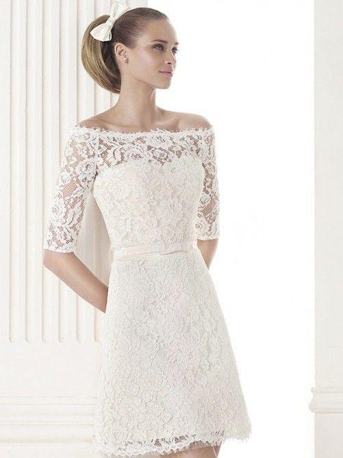 A Line Off The Shoulder Knee Length Lace Wedding Dress With 1 2 Sleeves Wedding Dresses Wedding Dresses Lace Short Wedding Dress