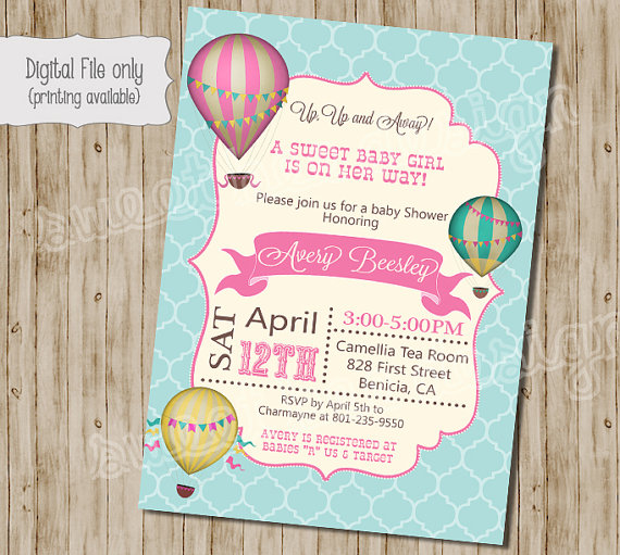Baby Shower Invitation Hot Air Balloon Baby Shower Invitation