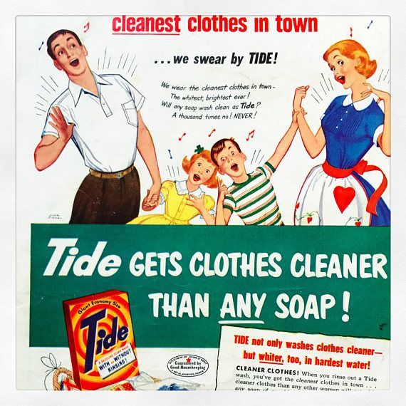 1950 S Good Housekeeping Tide Magazine Ad Vintage Cleaning