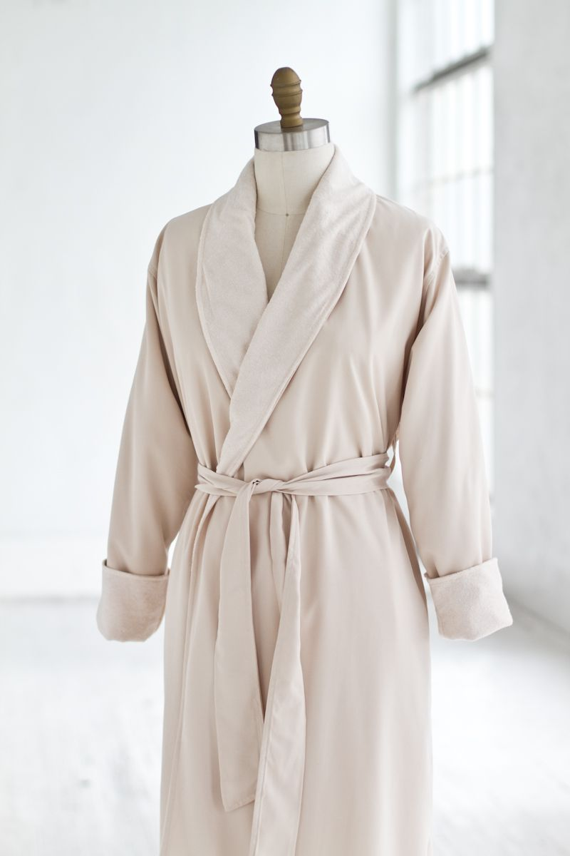 terry & microfiber spa robe creme — luxury spa robes   spa quality