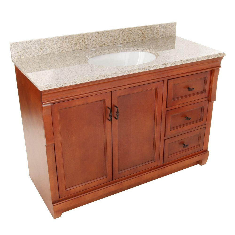 Foremost Naples 49 In W X 22 D 34 H Vanity With Right Drawers Warm Cinnamon Granite Top Beige