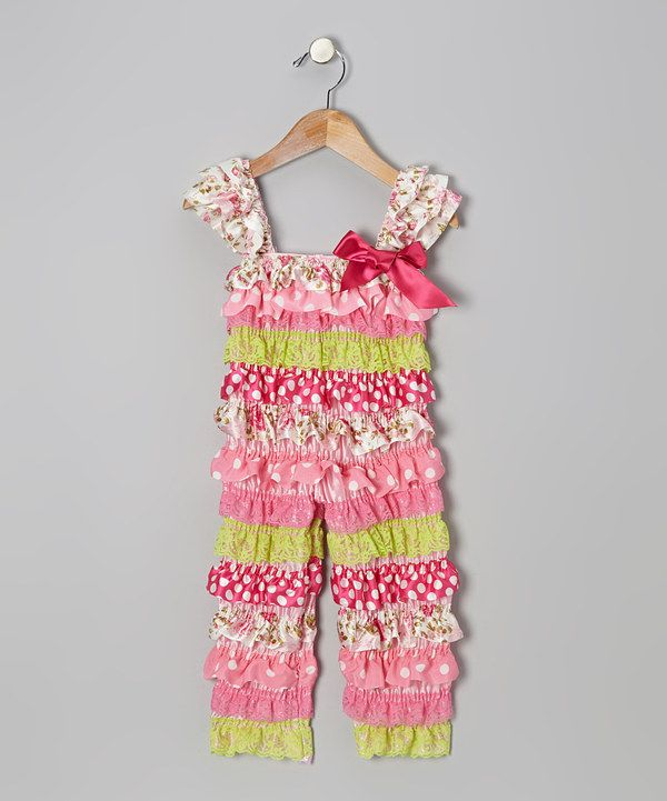 af1325bad5 This Pink & Lime Floral Ruffle Jumpsuit - Infant & Toddler by Tutus by Tutu  AND Lulu is perfect! #zulilyfinds