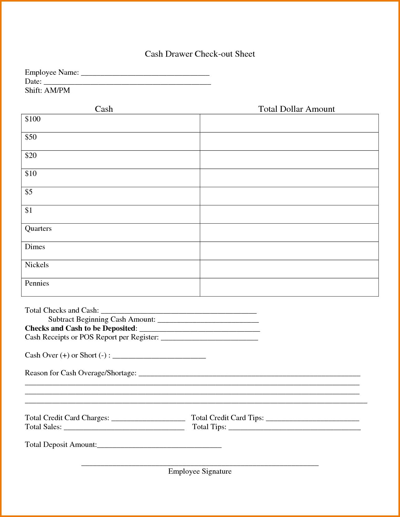Cash Drawer Balance Sheet Authorization Letter