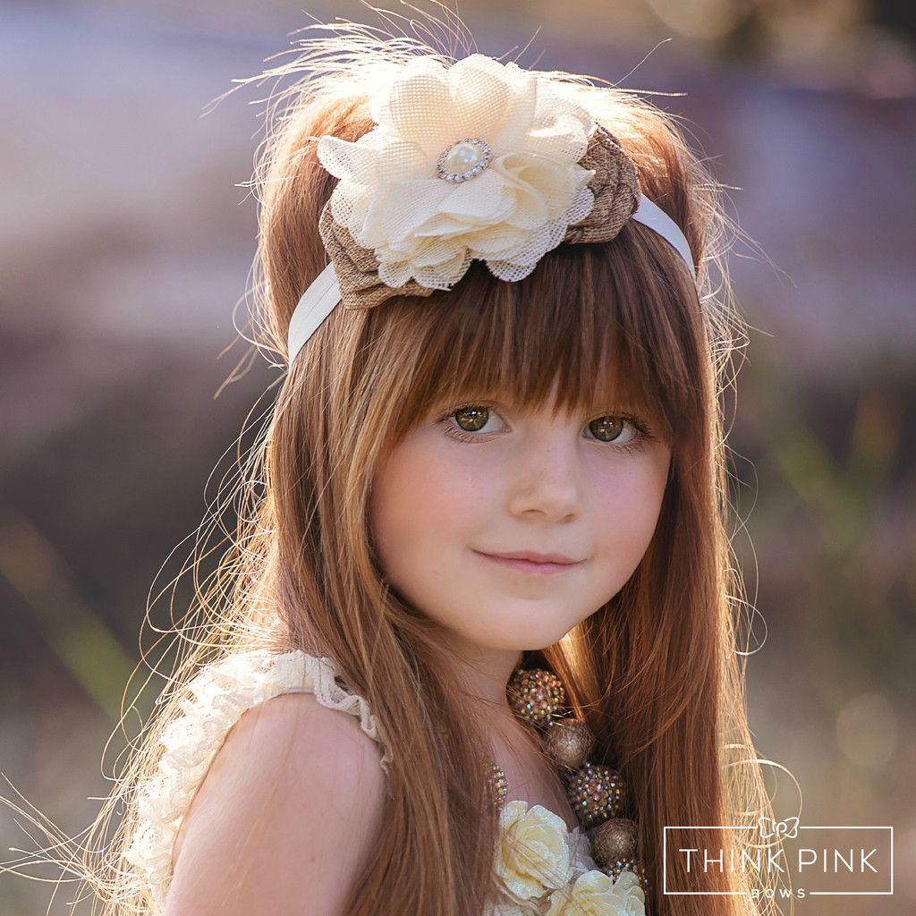 Burlap Rose Headband Flower Girl Headband Country Wedding Shabby chic Headband Rustic Baby Headband Baby Headband Burlap Lace Headband