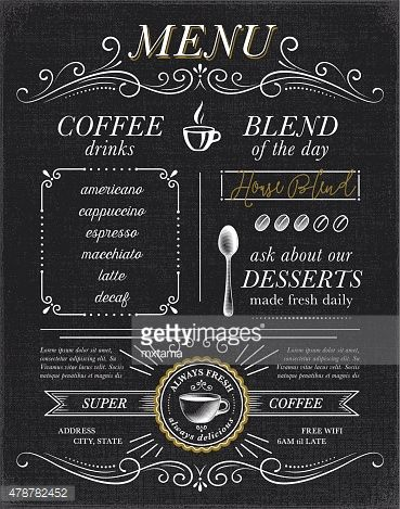 Cafe, coffee shop menu concept on black background EPS10 file - coffee menu