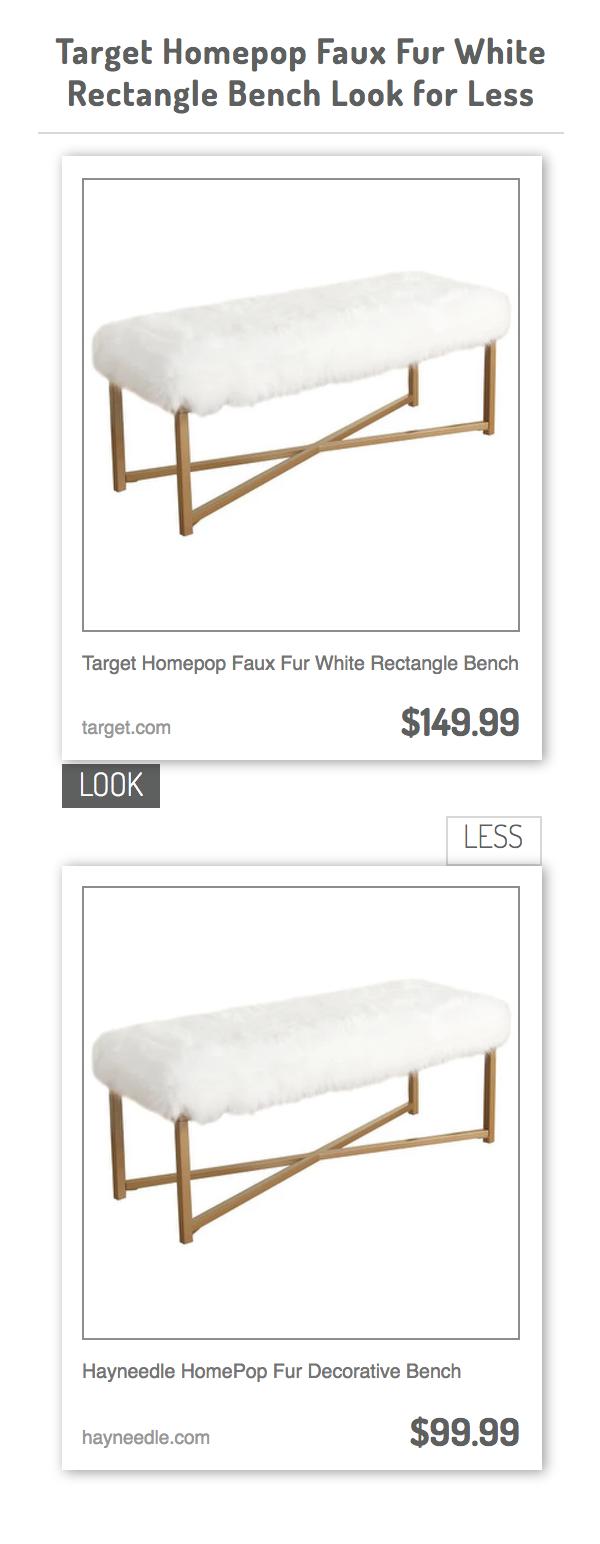Pleasant Target Homepop Faux Fur White Rectangle Bench Vs Hayneedle Uwap Interior Chair Design Uwaporg