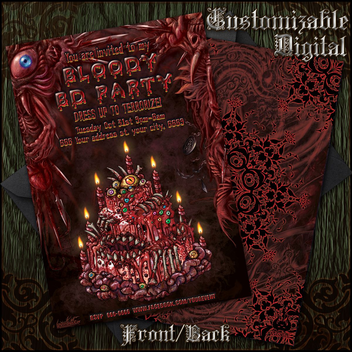 Illustrated Customizable Happy Birthday Scary Blood Gore Party – Scary or Horror Invitation Cards