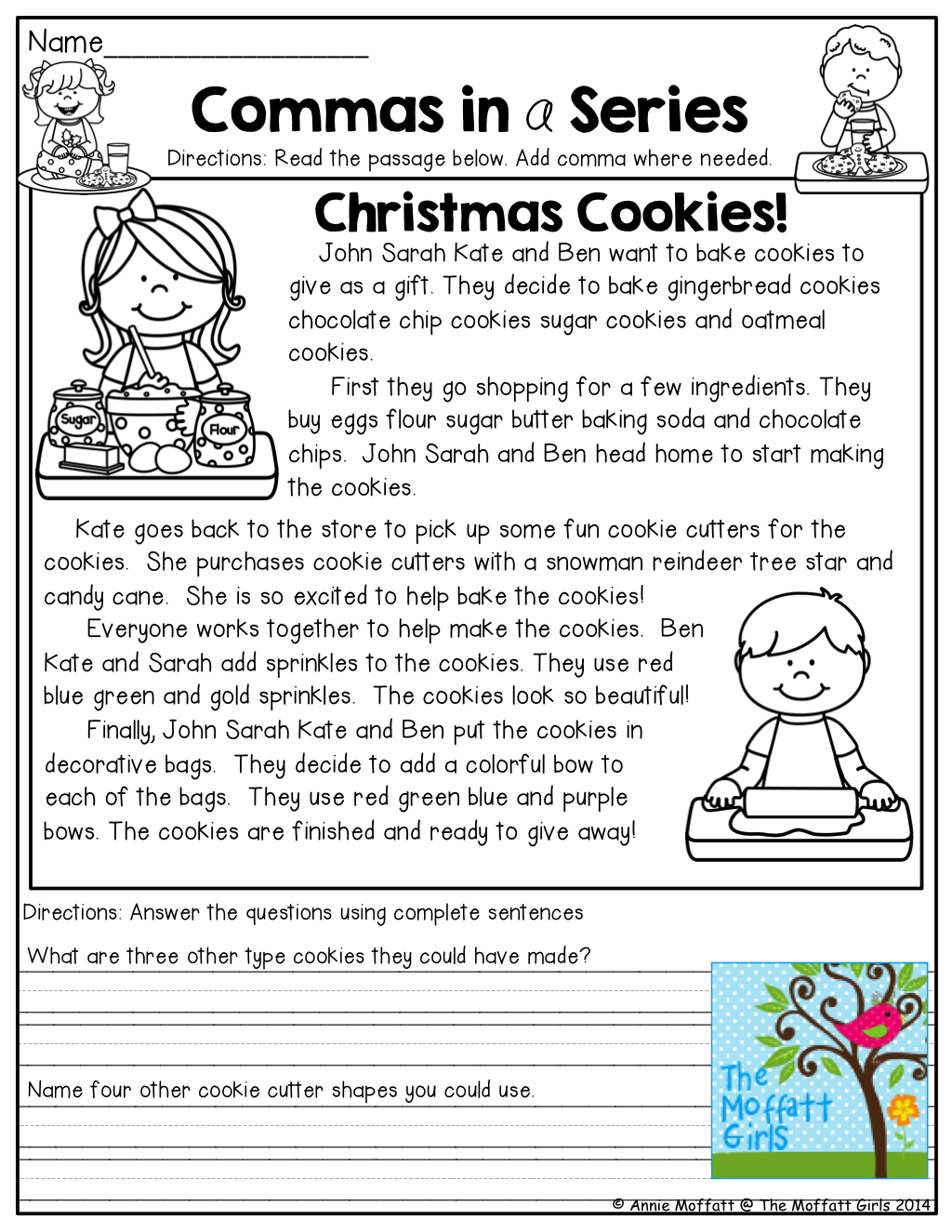Commas in a Series and TONS of other great printables for 2nd Grade!    Christmas reading comprehension [ 1325 x 1024 Pixel ]
