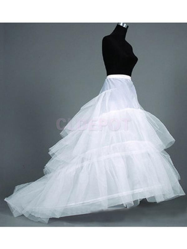 White 2 Hoop 3 Layer Wedding Dress Train Petticoat Crinoline Slip Underskirt