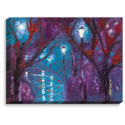 "DiaNocheDesigns 'Midnight Soliliquy' by Jessilyn Park Painting Print on Wrapped Canvas Size: 18"" H x 24"" W x 1.5"" D"