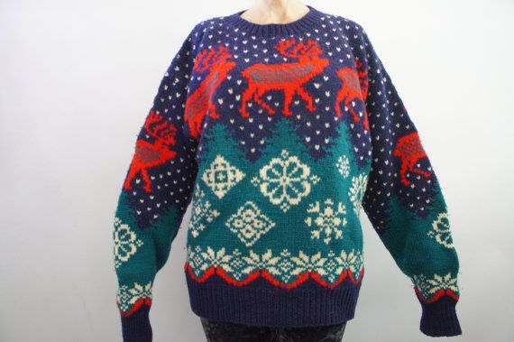 Vintage 80s 90s Fair Isle Deer Sweater by SycamoreVintage on Etsy ...