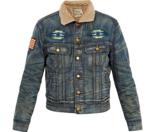 10af616fcf6 Polo-Ralph-Lauren-Men-USA-Flag-Southwestern-Aztec-Shearling-Trucker-Denim- Jacket