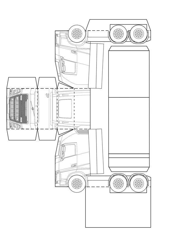 Kleurplaten Printen Vrachtwagens Bouwplaat Papercraft Volvo Fh Vervoer Kaarten Maken En