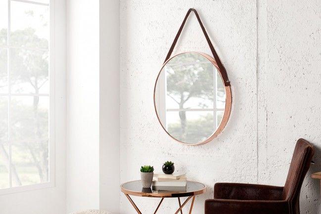 Großer Runder Design Spiegel Portrait 45 Cm Kupfer Braun