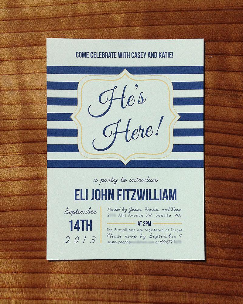 He's Here Baby Shower Meet-and-Greet Invitation by SongbirdPaperie    Welcome baby party, Baby boy sip and see, Baby invitations