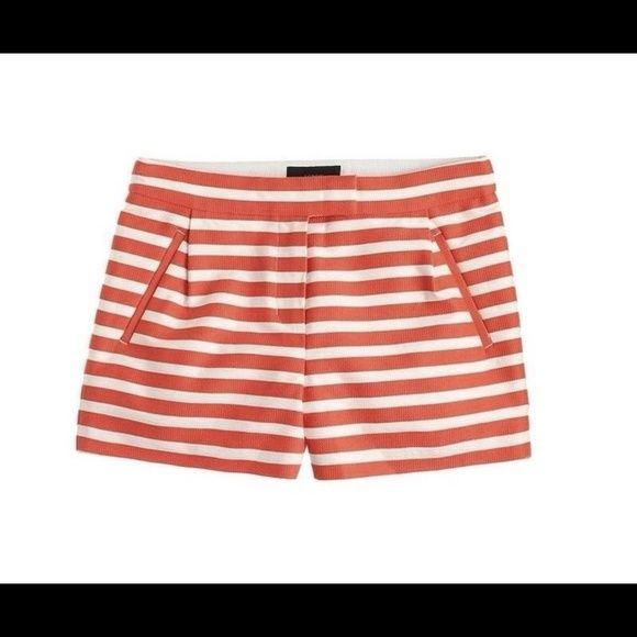 """J. Crew Textured-Stripe Shorts in Orange Sz 2 NWT New with Tags – Sold Out J. Crew Textured Stripe Shorts Retail $89.50 Color: Festival Orange (FOR) Size: 2 Style #A7385 A textured-stripe short feels refined, thanks to the clean waistband, a subtle pleat detail and angled pockets. City fit—JCs lowest rise Sits just above hip 3"""" inseam Cotton/nylon Zip fly Dry clean Import J. Crew Shorts"""