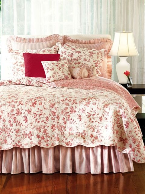 Williamsburg brighton red toile quilt red toile quilts draperies comforter sets bedspreads Master bedroom with red bedding