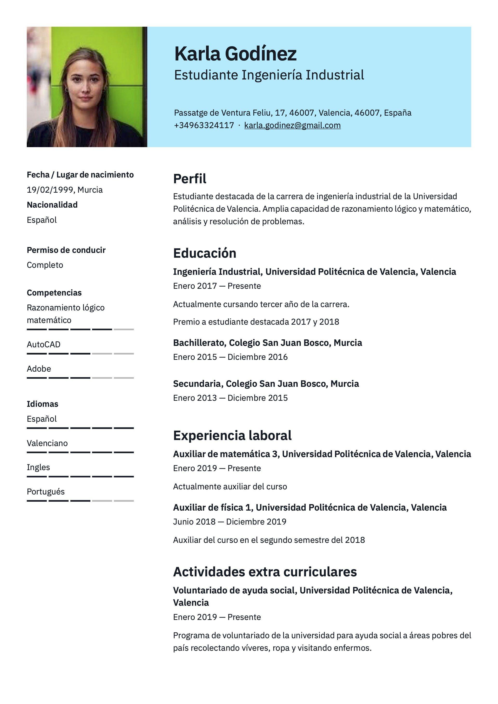 Pin En Currículum Para Estudiante Sin Experiencia