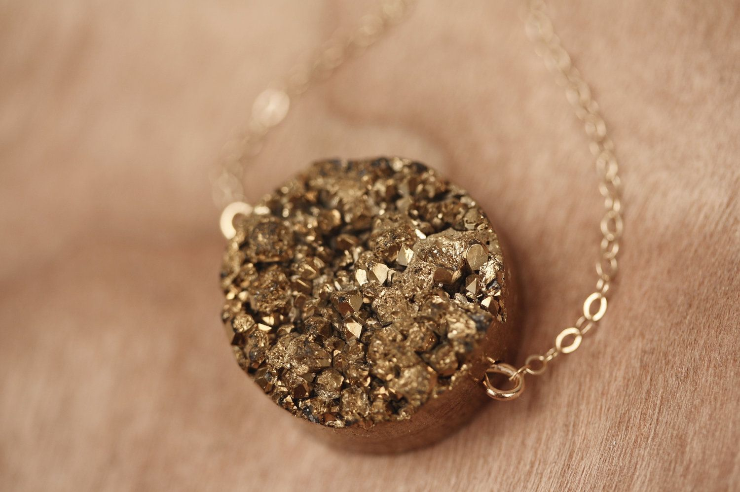 Drusy agate gold nugget necklace bronze druzy necklace shiny gold