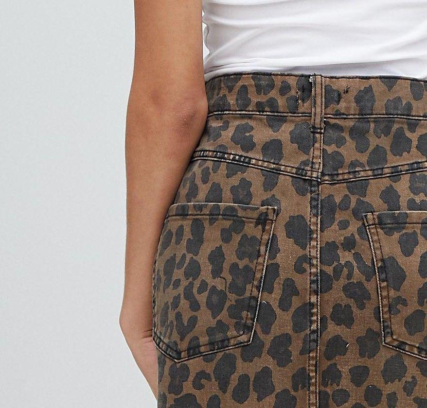 fa641c66e565 Bershka leopard print denim skirt | asos | Printed denim, Denim ...