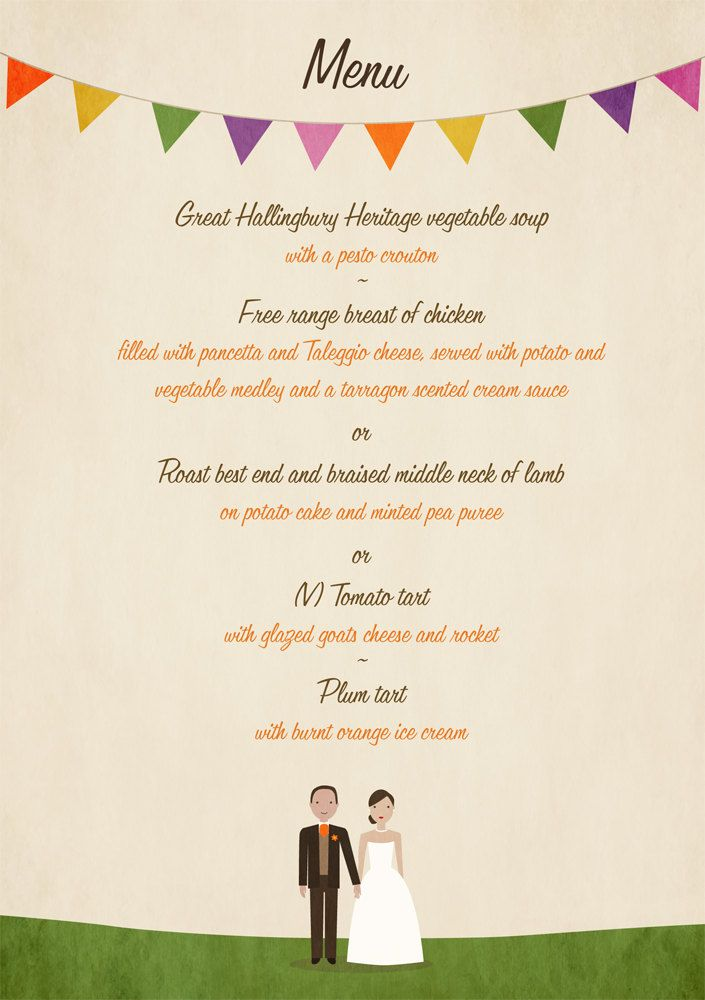 Village Country Fete  Bunting  Cute Vintage Style Wedding Menu